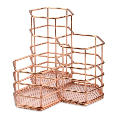 Rust Proof Rose Gold Hexagonal Desk Tidy for Office Organising with Pencil