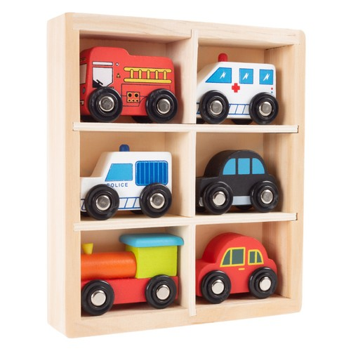 Wooden Car PlaySet-6-Piece Mini Toy Vehicle Set