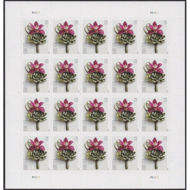 USPS Contemporary Boutonniere Sheet of 20 First Class Forever US Postage Stamps