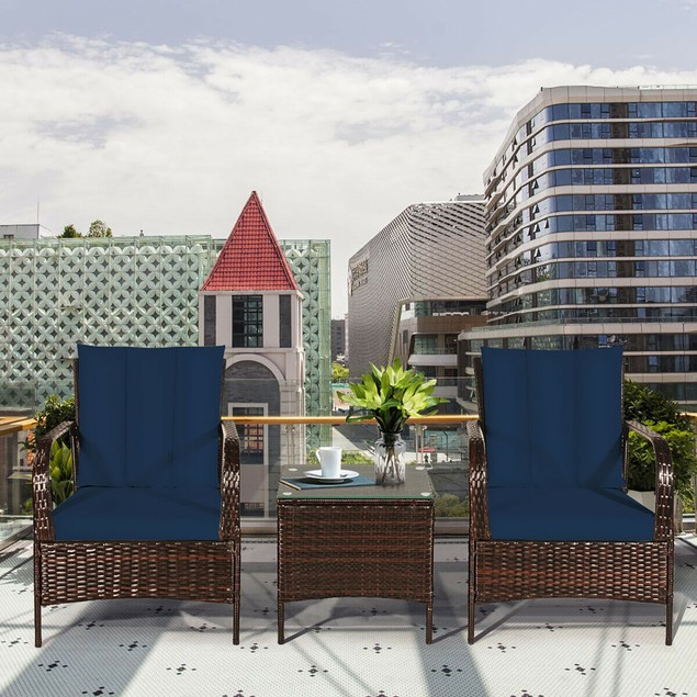 Costway 3 PCS Patio Wicker Rattan Furniture Set W/ Coffee Table