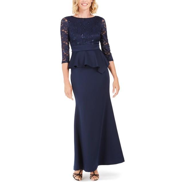 Jessica Howard Women's Peplum Gown Navy Size 8