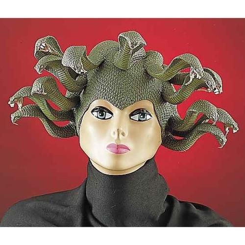 Medusa Snake Headpiece Latex Womens Wig Costume Hat Adult Mask Green Greek
