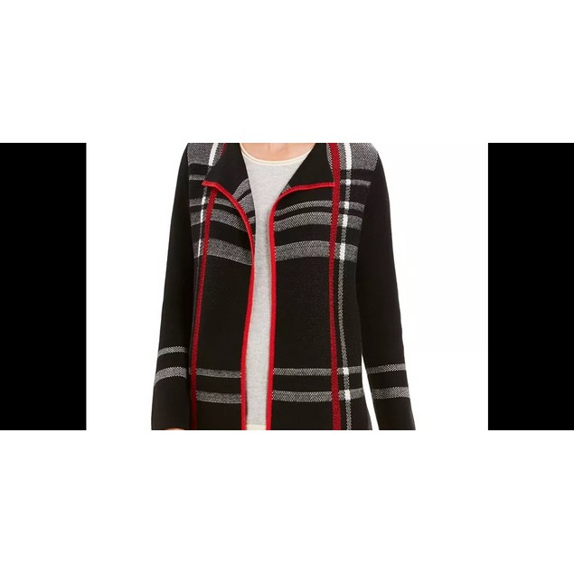 Charter Club Women's Petite Open-Front Cardigan Black Size 44