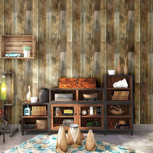 "Peel and Stick Wood Plank Wallpaper Shiplap 17.7""x 19.7ft"