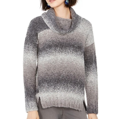 Style & Co Women's Ombré Boucle Sweater Gray Size Large