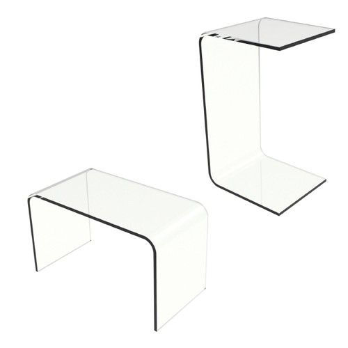 Acrylic Side Table-Clear and Modern C-Style Vertical End Table