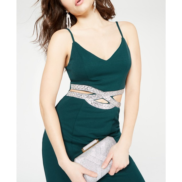 Speechless Juniors' Infinity Waist Cutout Rhinestone Gown Dress, 5, Green