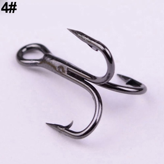 100Pcs High Carbon Steel Treble Hooks
