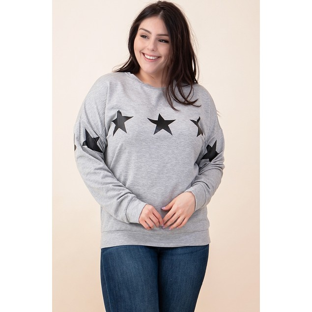 French Terry Star Pull Over Sweatshirt