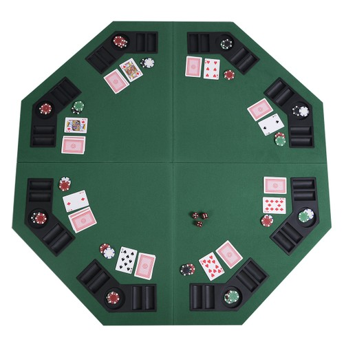 """Costway 48"""" Green Octagon 8 Player Four Fold Folding Poker Table Top & Carr"""