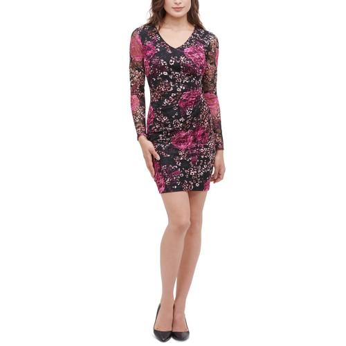 Guess Women's Printed Lace Stretch Sheath Dress Gray Size Small