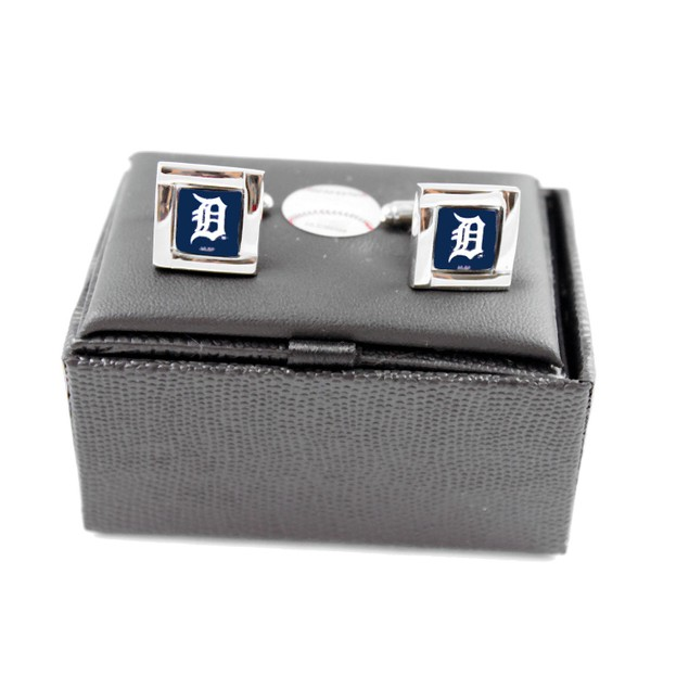 MLB Square Cufflinks with Square Shape Engraved Logo Design Gift Box Set
