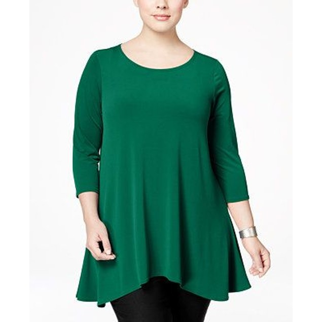Alfani Women's High-Low Tunic Green Size Medium