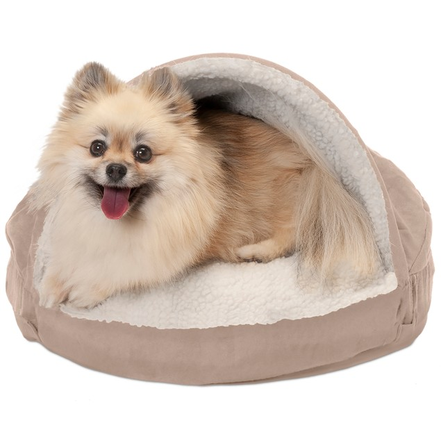 FurHaven Orthopedic Round Faux Sheepskin Snuggery Burrow Pet Bed