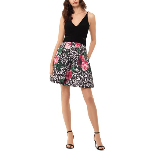 Xscape Women's Mixed-Print Fit & Flare Dress Black Size 10