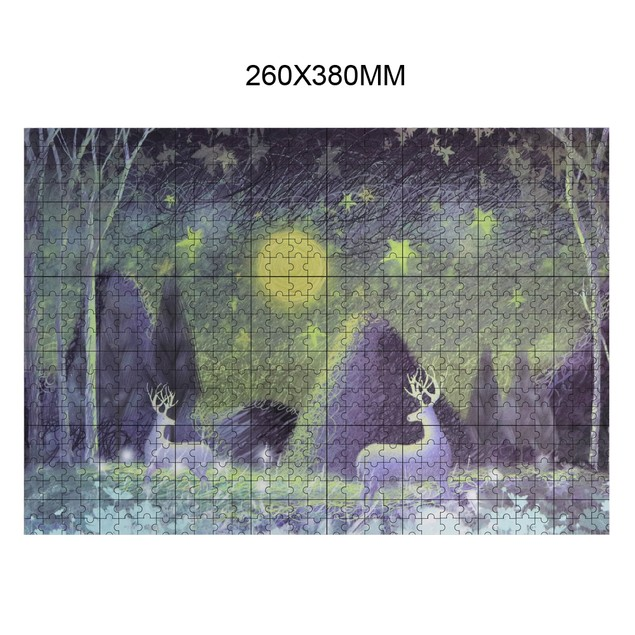 """BIGTREE Mini 10x15"""" Classic Oil Paintings 1000 Pieces Micro Jigsaw Puzzle The Starry Deer in Forest Jigsaw Puzzle Backside Clue"""