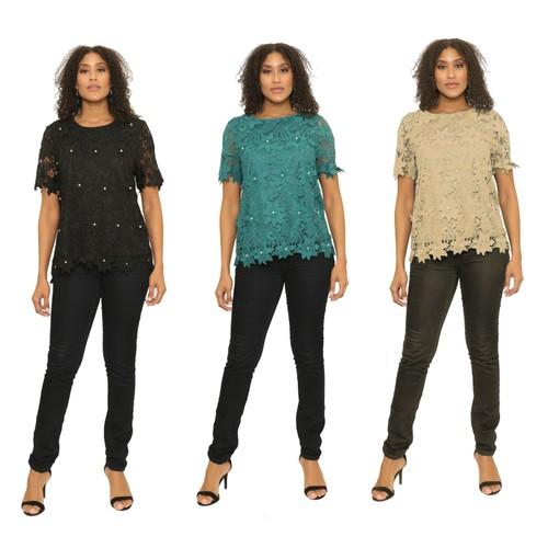 Women's Crochet Pattern Short Sleeves Top Blouse T-Shirt