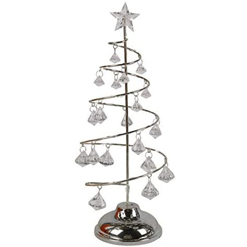 """Metallic Christmas Tree Home Décor Holiday Decoration LED 13"""" Tall Silver"""