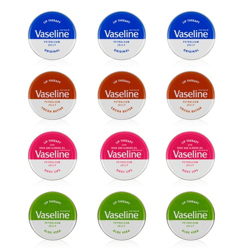 12-Pack Vaseline 20g/0.705, Assorted Lip Therapy