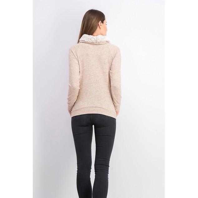 Ultra Filrt Juniors' Faux-Sherpa Lined Funnel Neck Sweatshirt Beige XL