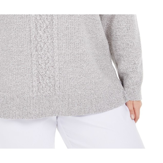Karen Scott Women's Cable-Knit Panel Sweater Gray Size Small