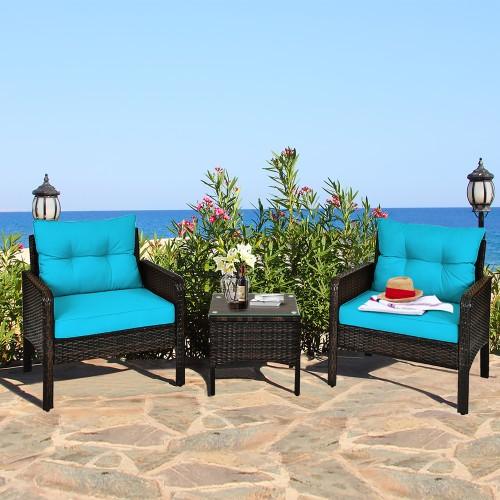 Costway 3PCS Outdoor Rattan Conversation Set Patio Garden Cushioned Sofa Ch