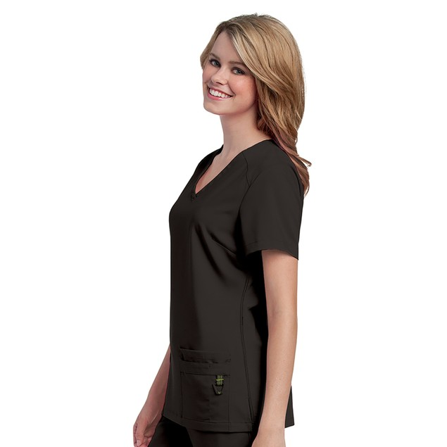 Urbane Ultimate Women's V-Neck Shoulder Yoke Solid Scrub Top, XS,