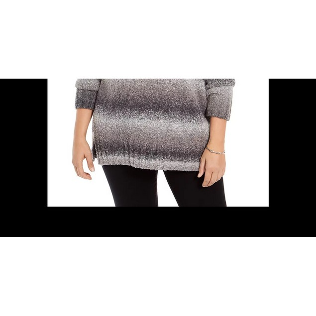 Style & Co Women's Ombre Cowl Neck Sweater Black Size 2X