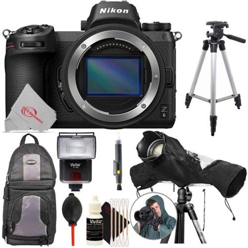 Nikon Z 6 Mirrorless Digital Camera Body + Lens Pen + Dust Blower + Raincover + Flash + Backpack + Tall Tripod + 3pc Cleaning Kit