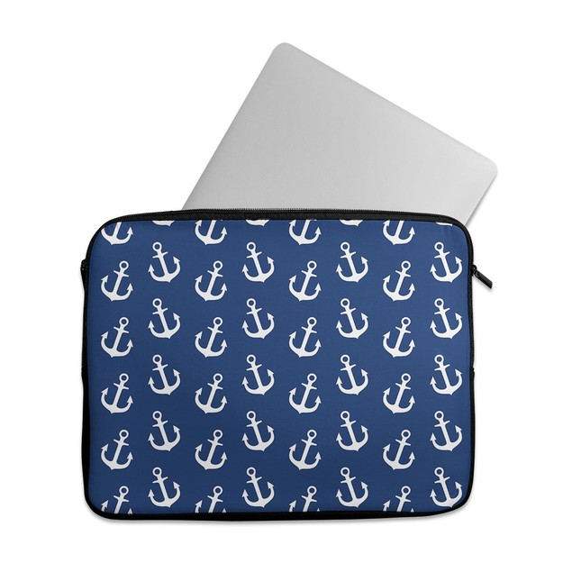 """EmbraceCase 15.6"""" Ink-Fuzed Laptop Sleeve - Navy and White Micro Anchors"""