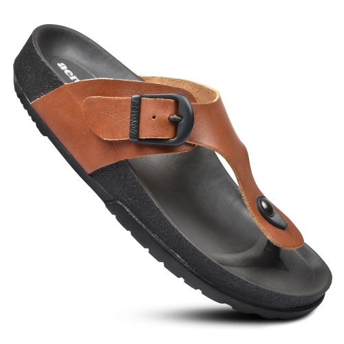 AEROSOFT Ellis Women's Adjustable Buckle T-Strap Comfort Walking Sandal