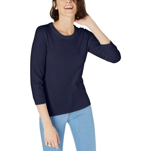 Maison Jules Women's Crewneck Sweater Blue Size Large