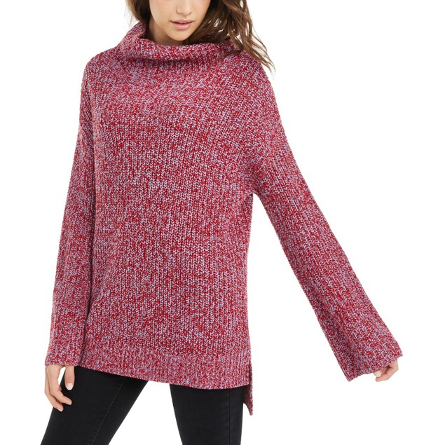 American Rag Juniors' Women's Flare-Sleeved High-Low Sweater Red Size Large
