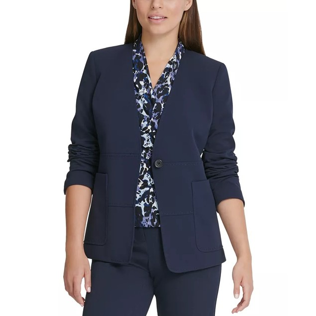 DKNY Women's Collarless One-Button Blazer Blue Size 2