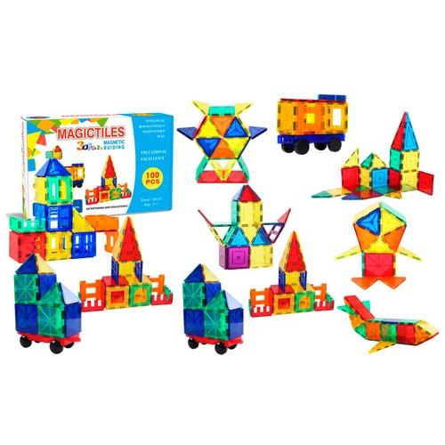 ZUMMY Kids Magnetic Building Blocks Tile Set (100-Piece)