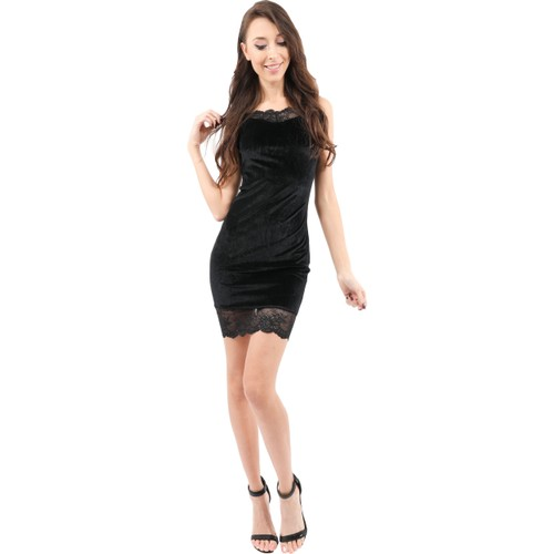 Royce Velvet Mini Dress with Lace Detail