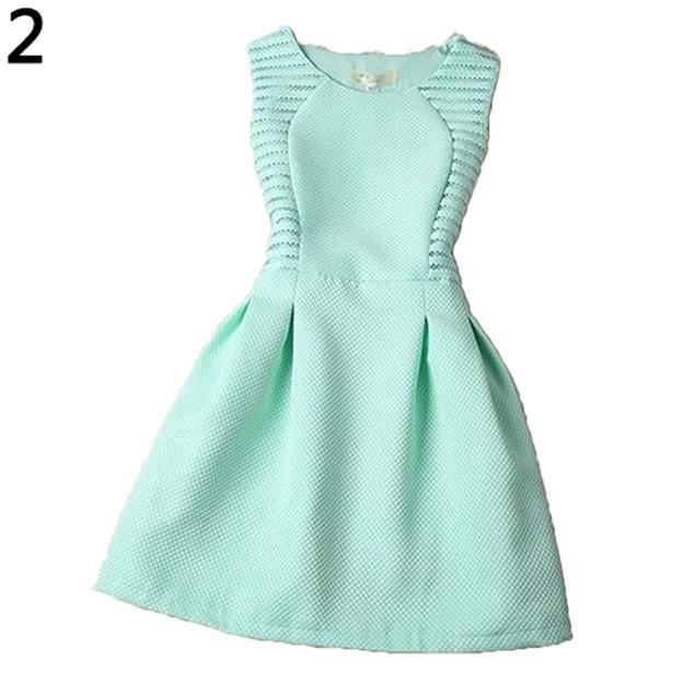 Women's O-Neck Sleeveless A-Line Swing Dress Sundress Asian Size