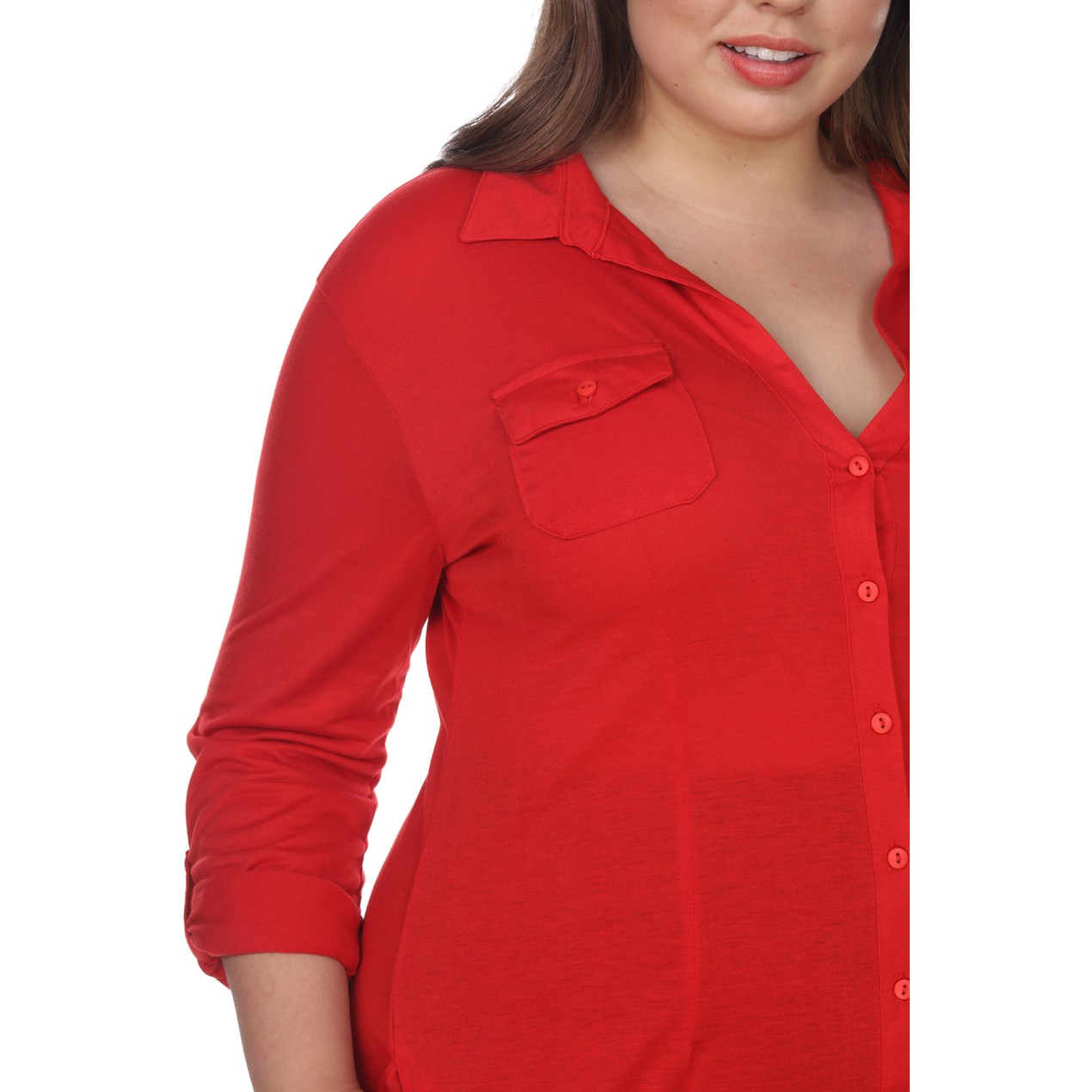 Lakota Stretchy Button-Down Tunic Top - 5 Colors - Extended