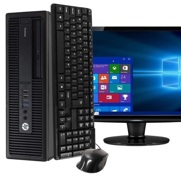"HP 600G2 Desktop Intel i7 16GB 2TB HDD Windows 10 Professional 24"" Monitor"