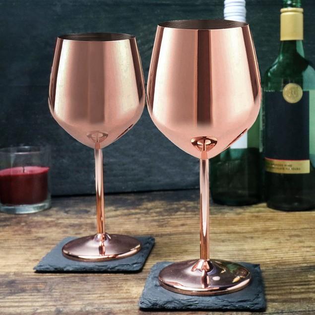 Copper Finish Wine Glasses - Set of 2 | MandW