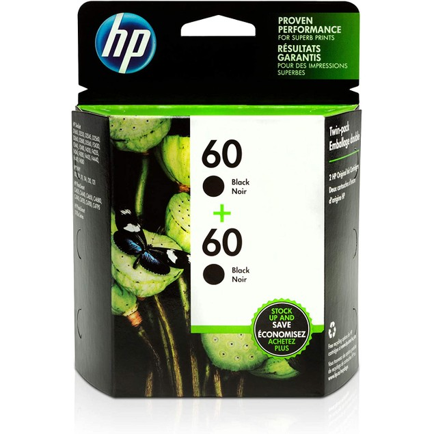 HP 60 | 2 Ink Cartridges | Black | CC640WN