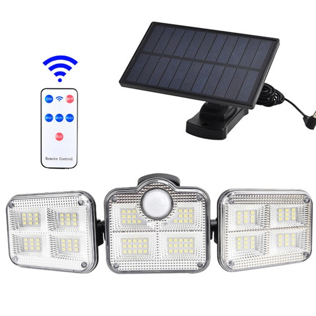 3 Head Solar Garden Light Motion Sensor Flood Light Outdoor Waterproof