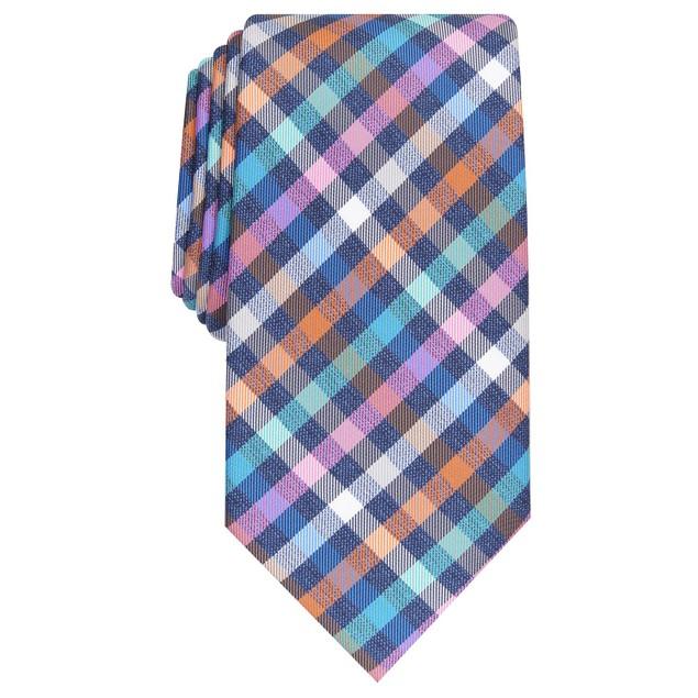 Perry Ellis Men's Maybury Classic Plaid Tie Navy Size Regular