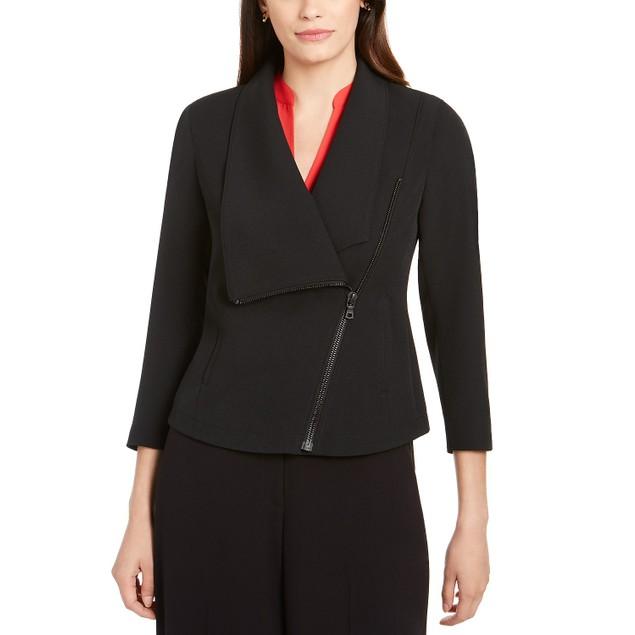 Anne Klein Women's Asymmetrical Zippered Jacket Black Size 8