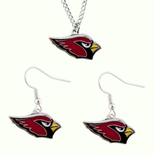 Arizona Cardinals Dangle Earring and Necklace Set NFL Charm Gift