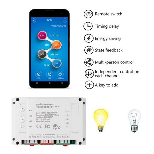 SONOFF 4CH 4 Channel 10A 2200W 2.4Ghz Smart Home WIFI Wireless S