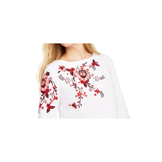 Charter Club Women's Embroidered Split-Sleeve Top  White Size Medium