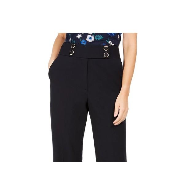 Calvin Klein Women's High Rise Buttoned Waist Dress Pants Navy Size 1