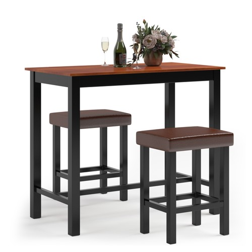 Costway 3 Piece Pub Table Set Counter Height Kitchen Breakfast Bar Dining T