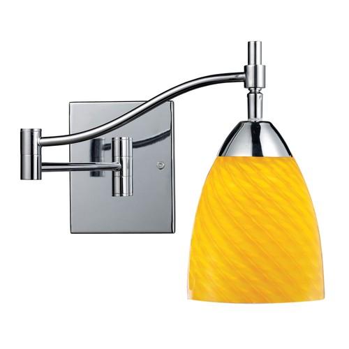 Celina 1 LT LED Swingarm Sconce In Polished Chrome And Canary Glass